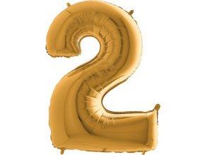 Balon foliove cislo zlate 2 71WGOLD2