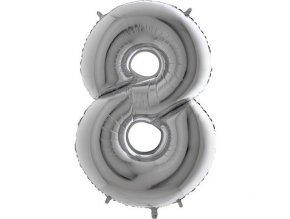 Balon foliove cislo stribrne 8 71WSILVER8