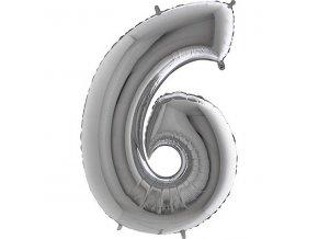 Balon foliove cislo stribrne 6 71WSILVER6
