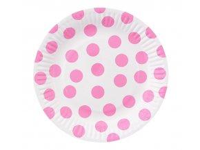 talerzyki papierowe groszki rozowe 18 cm 6 s