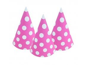 czapeczki papierowe groszki rozowe 6 szt