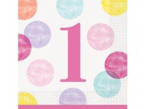 serwetki papierowe first birthday rozowe serca 1