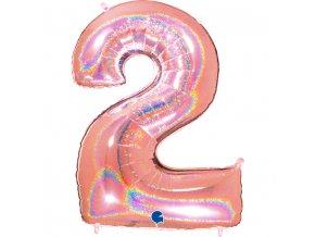 832GHRG Number 2 Glitter Holographic Rose Gold