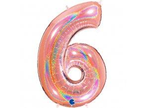 836GHRG Number 6 Glitter Holographic Rose Gold