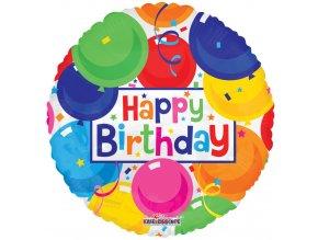 Balonek foliový Happy Birthday balónkový