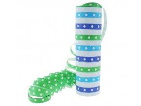 serpentyna groszki i paski niebiesko zielone 1