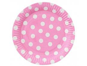 talerzyki papierowe groszki rozowe 23 cm 6 s
