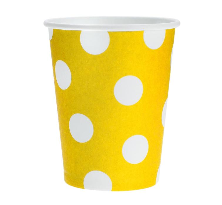 Kelímky papírové žluté s puntíky