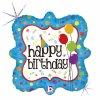 Balonek foliový Happy Birthday s puntíky