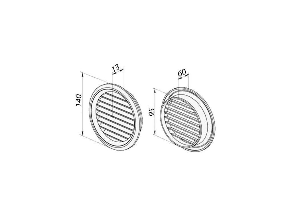 Ventilační mřížka nerez kruhová 100 mm MVM100bVA