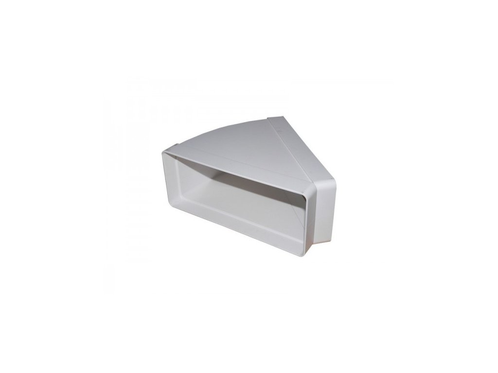Ohyb plochého kanálu vodorovný 220x90 mm - 45 st. PVC