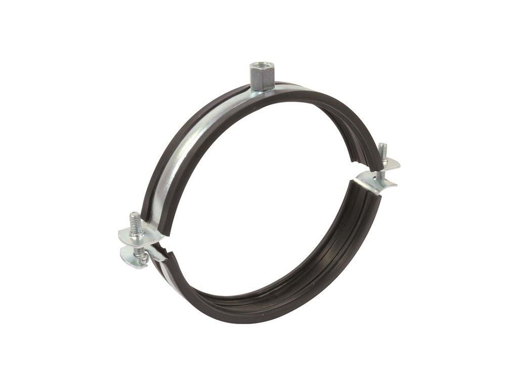 Objímka na VZT potrubí držák s gumou dvoušroubový 100 mm