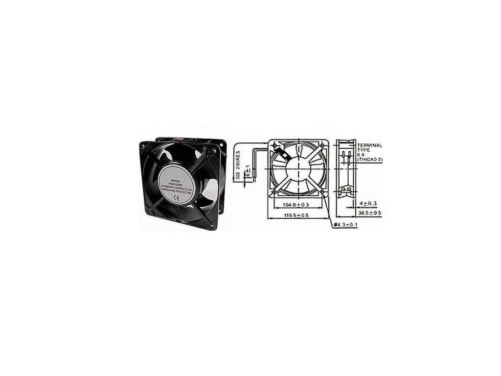 Ventilátor přístrojový 230V/120x120 x38 mm