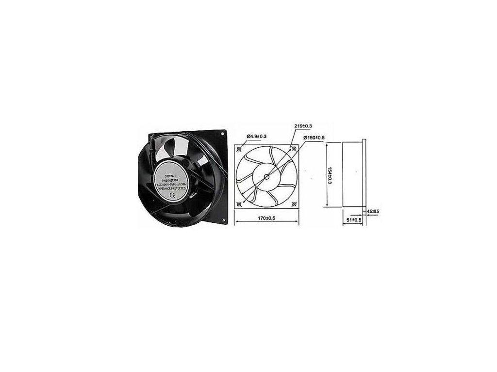 Ventilátor přístrojový 230V/170x170 x51 mm