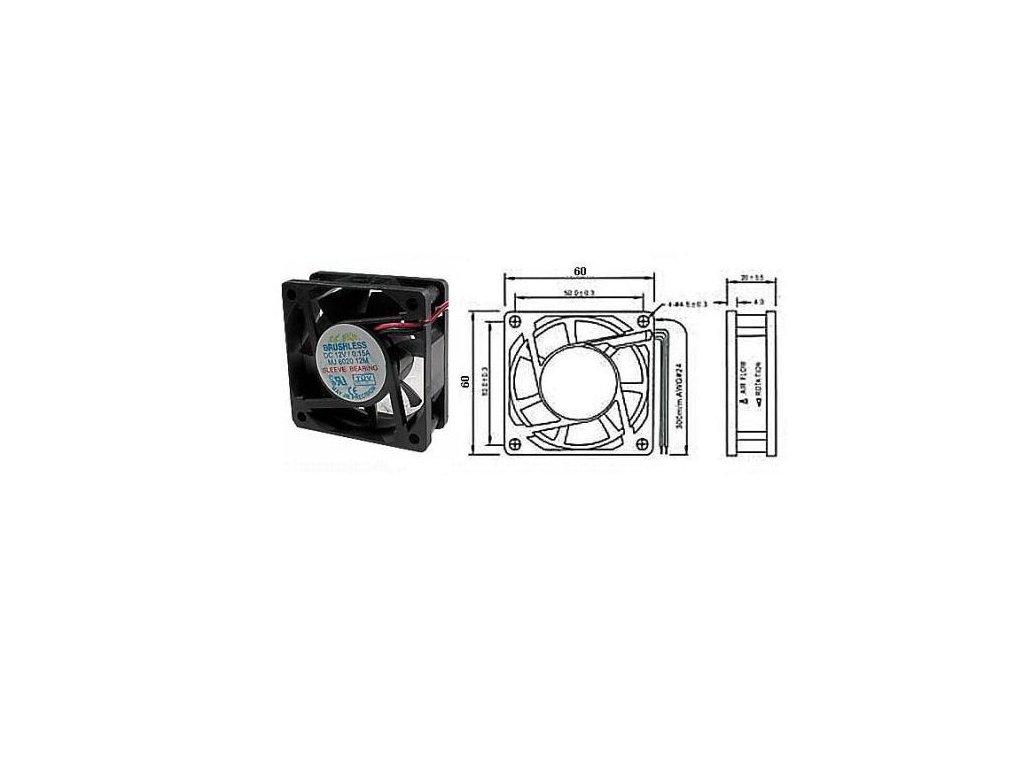 Ventilátor přístrojový  12V/ 60x60 x20 mm