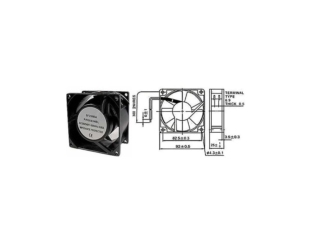 Ventilátor přístrojový 230V/ 92x 92 x25 mm