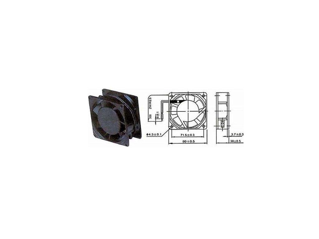 Ventilátor přístrojový 230V/ 80x 80 x38 mm