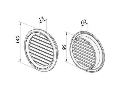 Ventilační mřížka nerez 100 mm MVM100bVA