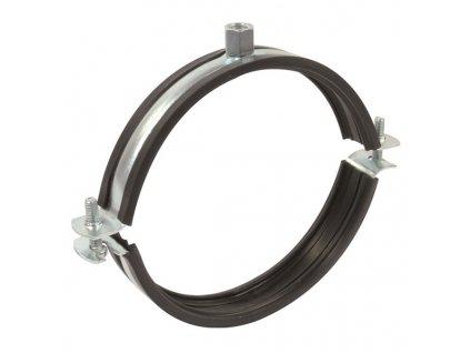 Objímka na VZT potrubí držák s gumou dvoušroubový 150 mm