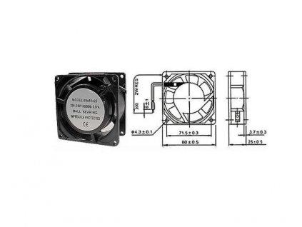 Ventilátor přístrojový 230V/ 80x 80 x25 mm
