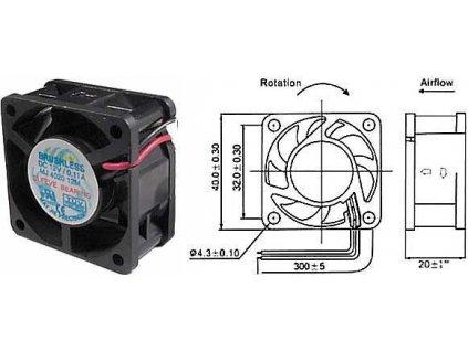 Ventilátor přístrojový  12V/ 40x 40 x20 mm 6000 ot/min