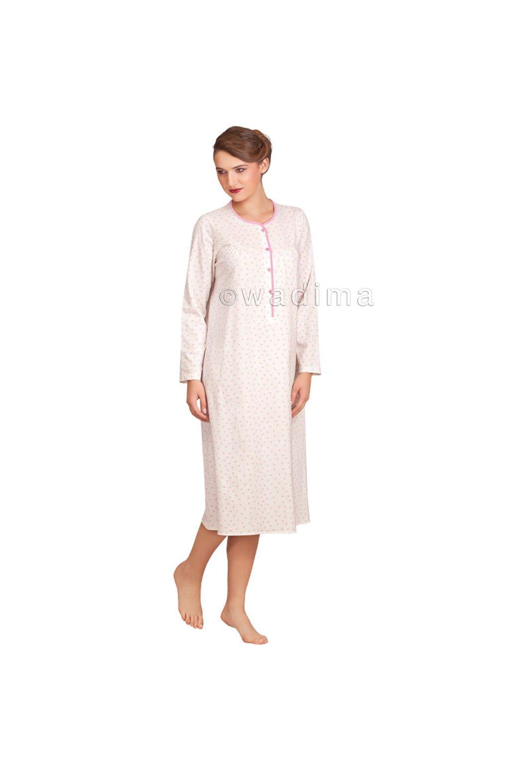 Dámská noční košile s dlouhým rukávem, 104214 1, bílá