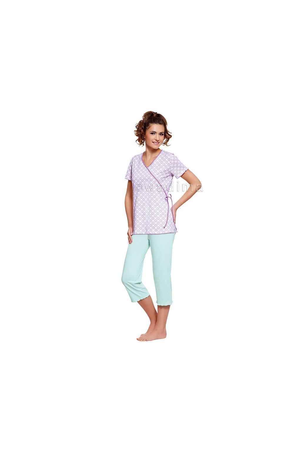 Dámské pyžamo s krátkým rukávem a 3/4 nohavicemi, 104269 760, bílá/mátová