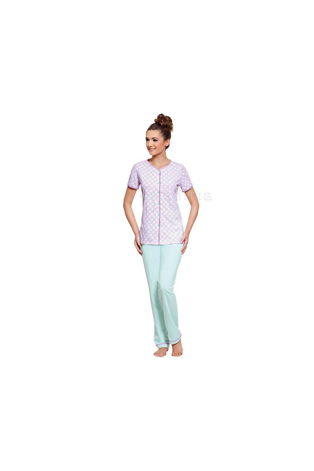 Dámské pyžamo s krátkým rukávem a dlouhými nohavicemi, 104278 760, bílá/mátová