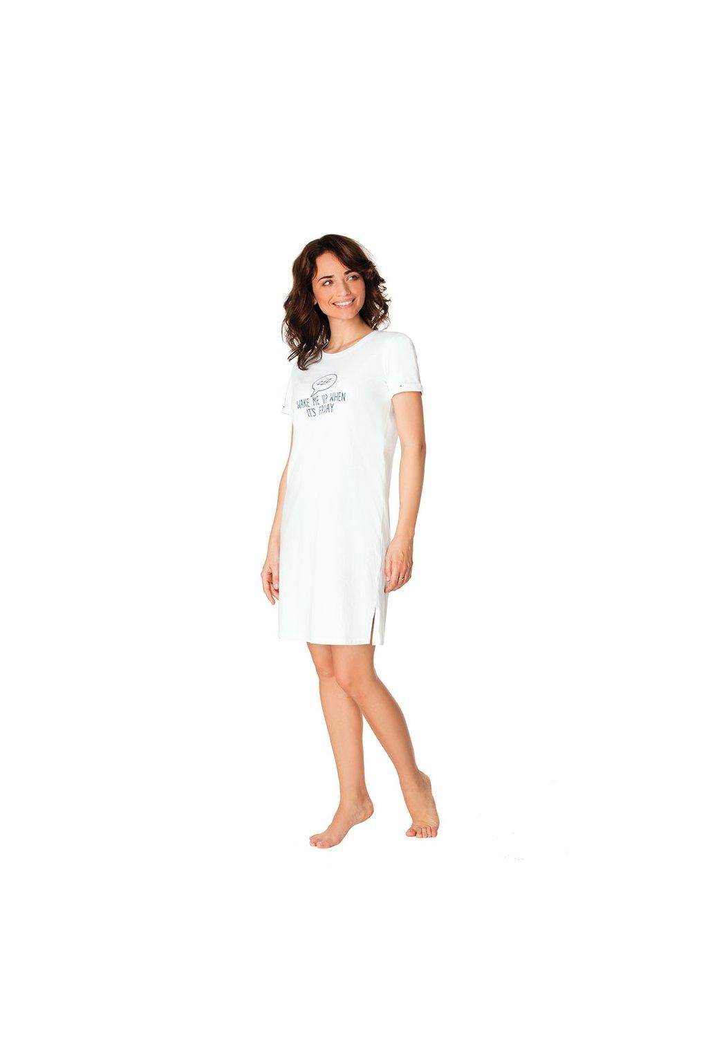 Dámská noční košile s krátkým rukávem, 104439 312, perlová
