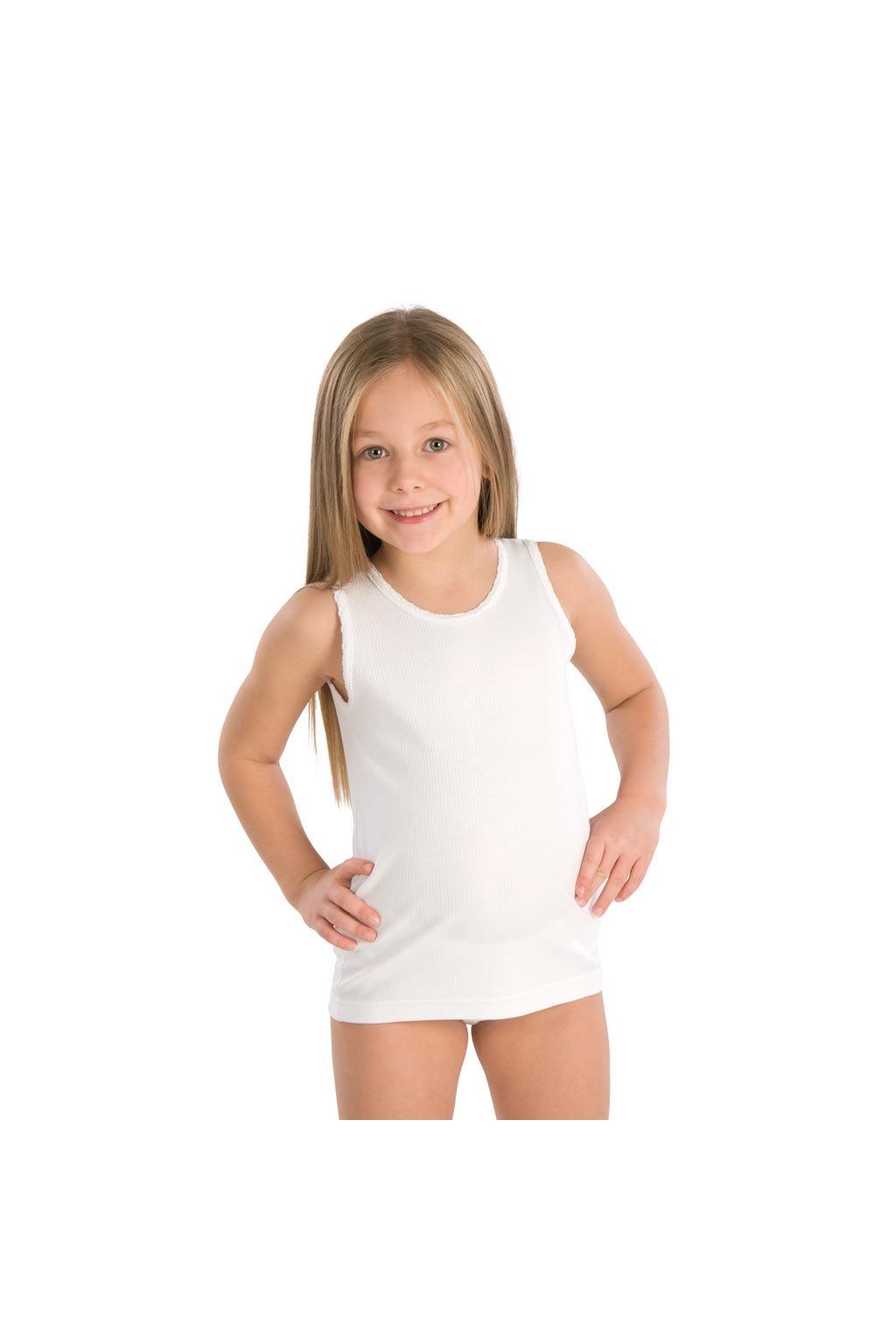 Dívčí košilka se širokými ramínky, 40204 1, bílá