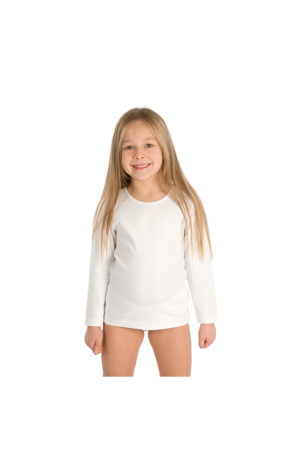 Dívčí košilka s dlouhým rukávem, 40215 1, bílá