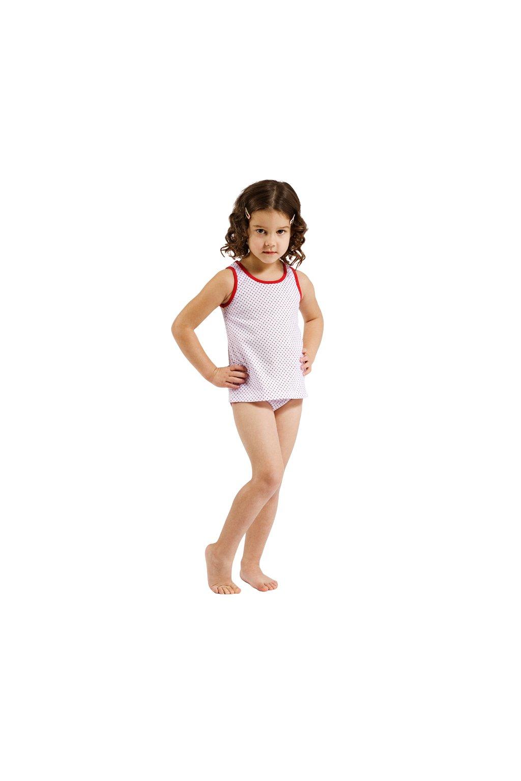 Dívčí košilka se širokými ramínky, 40220 664, bílá/červená
