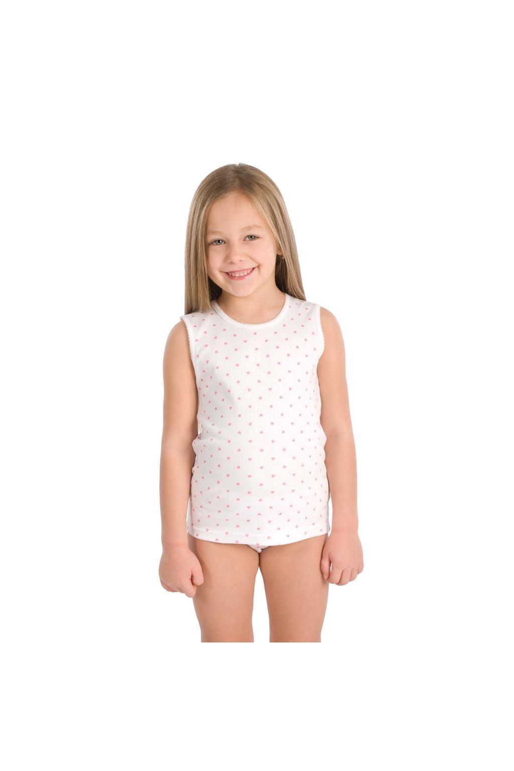 Dívčí košilka se širokými ramínky, 40206 1, bílá
