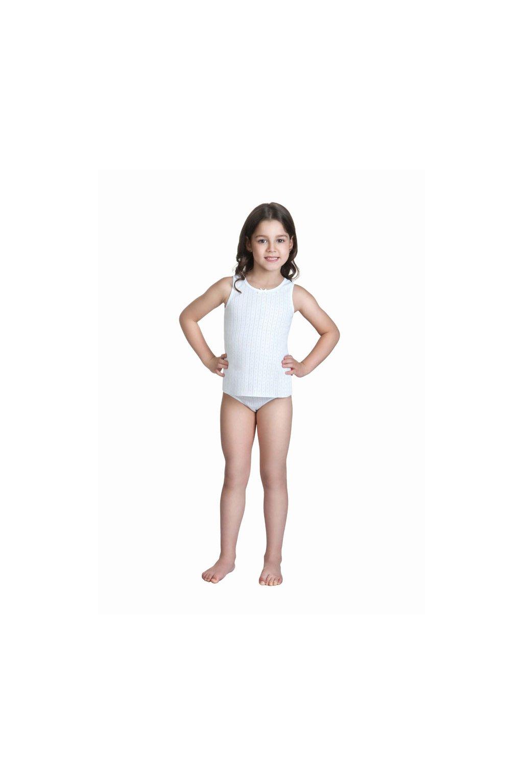 Dívčí košilka se širokými ramínky, 40235 1, bílá