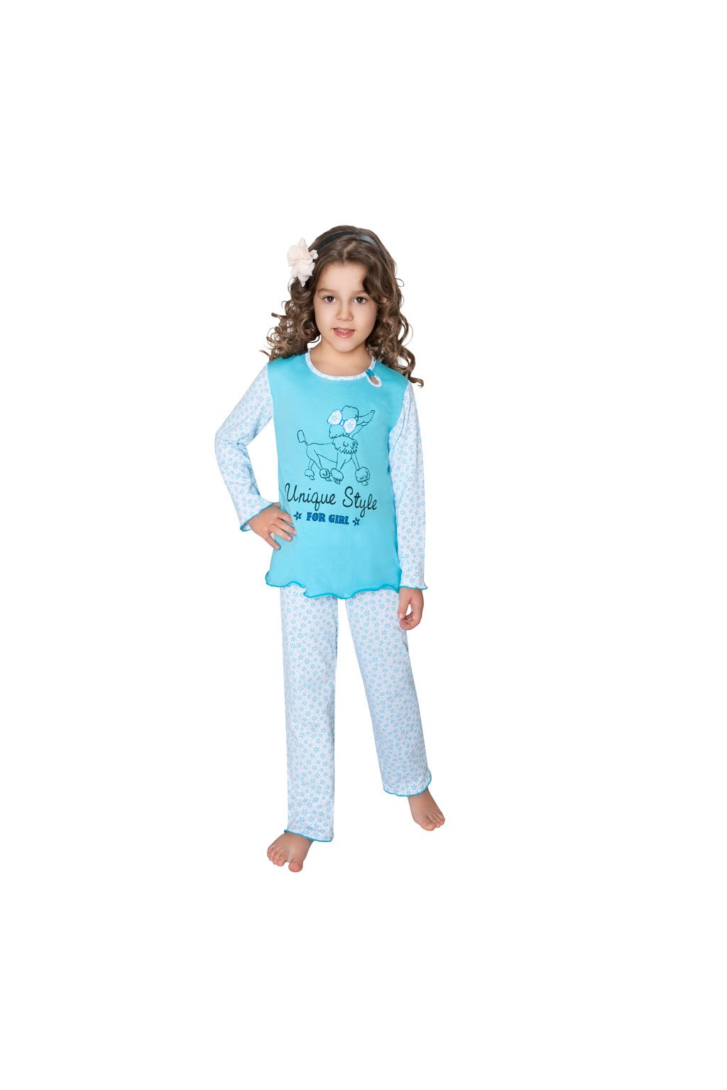 Dívčí pyžamo s dlouhým rukávem, 40457 704, bílá/oranžová