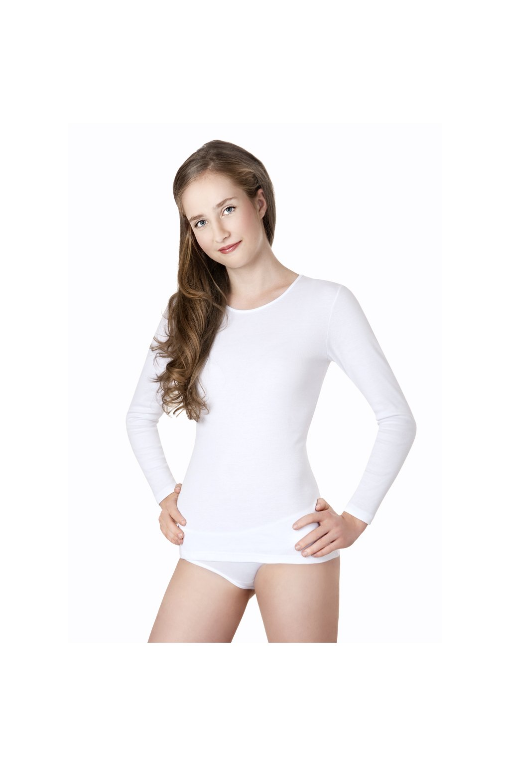 Dívčí tričko s dlouhým rukávem YOUNG FASHION, 70206 1, bílá