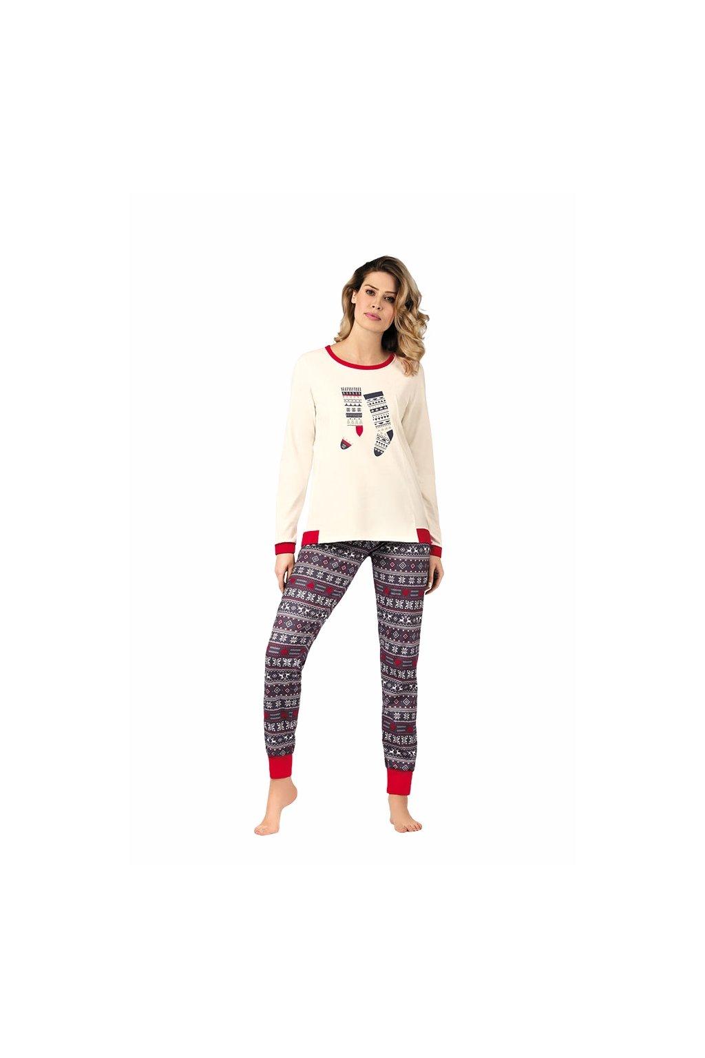 Dámské pyžamo s dlouhým rukávem, 104430 903, smetanová