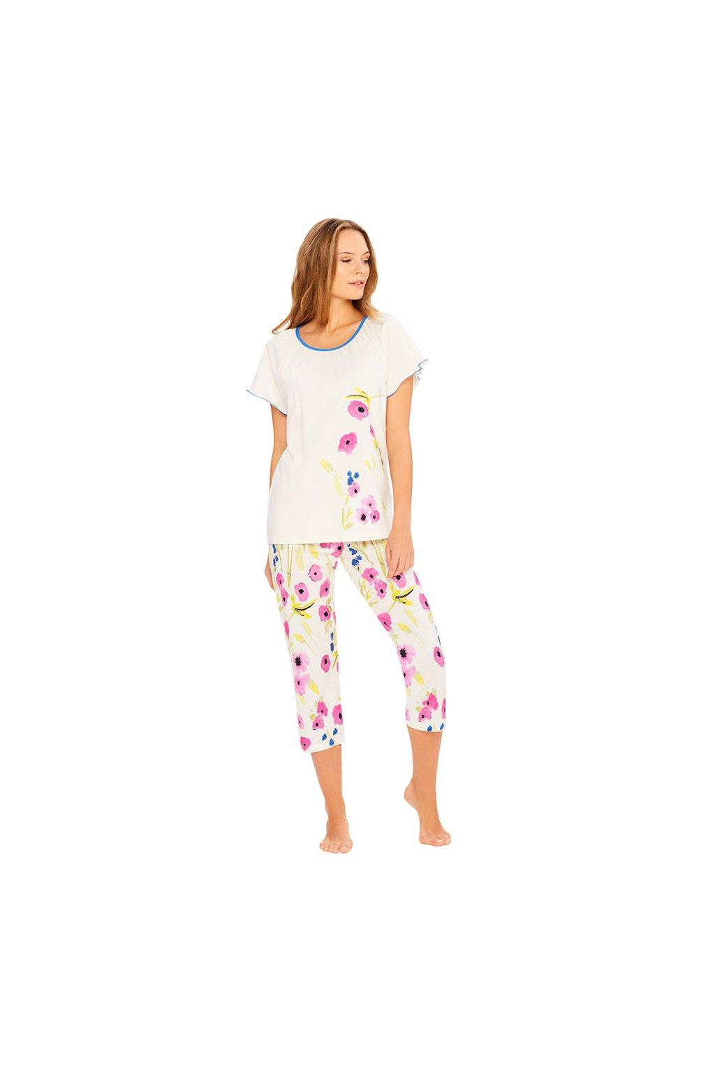 Dámské pyžamo s krátkým rukávem a 3/4 nohavicemi, 104399 130, smetanová