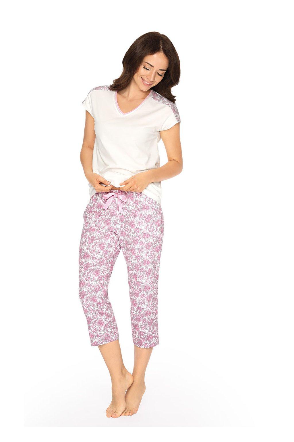 Dámské pyžamo s krátkým rukávem a 3/4 nohavicemi, 104514 84, smetanová