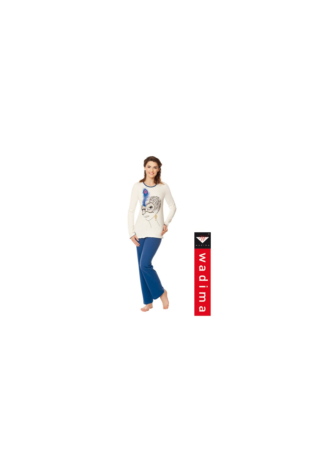Dámské pyžamo s dlouhým rukávem, 104339 843, smetanová/modrá