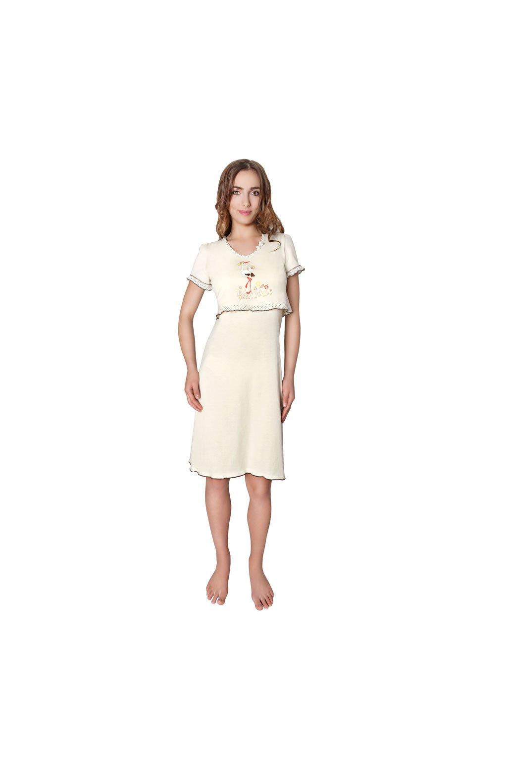 Dámská noční košile s krátkým rukávem, 104230 3, smetanová