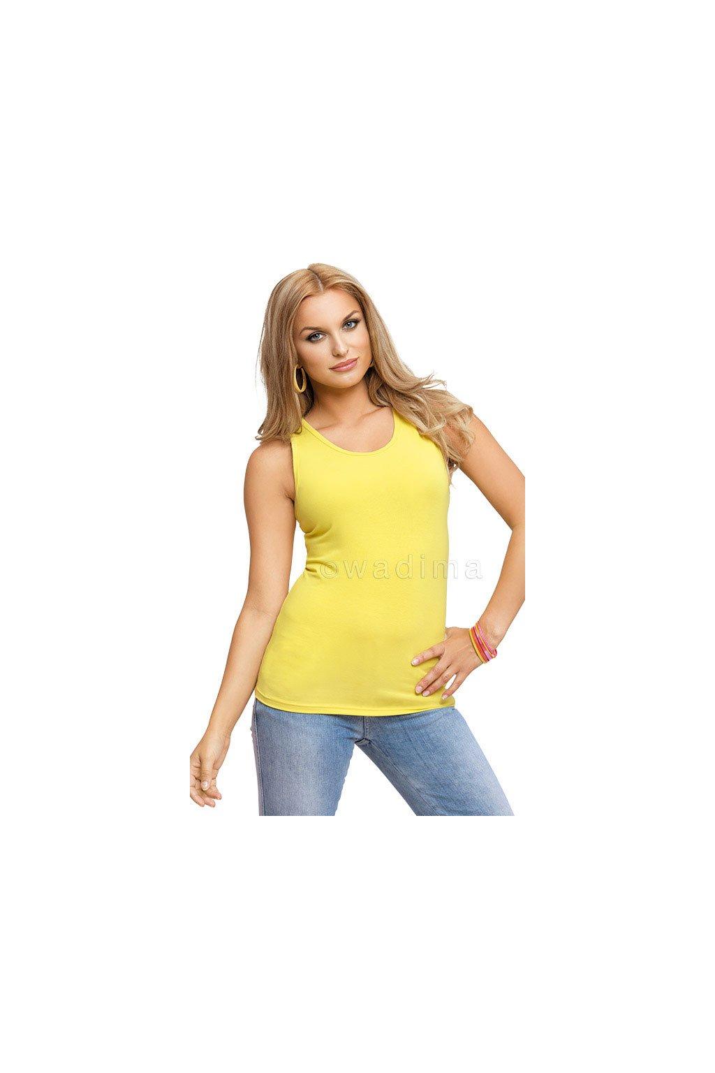 Dámská halenka se širokými ramínky, 103447 318, žlutozelená