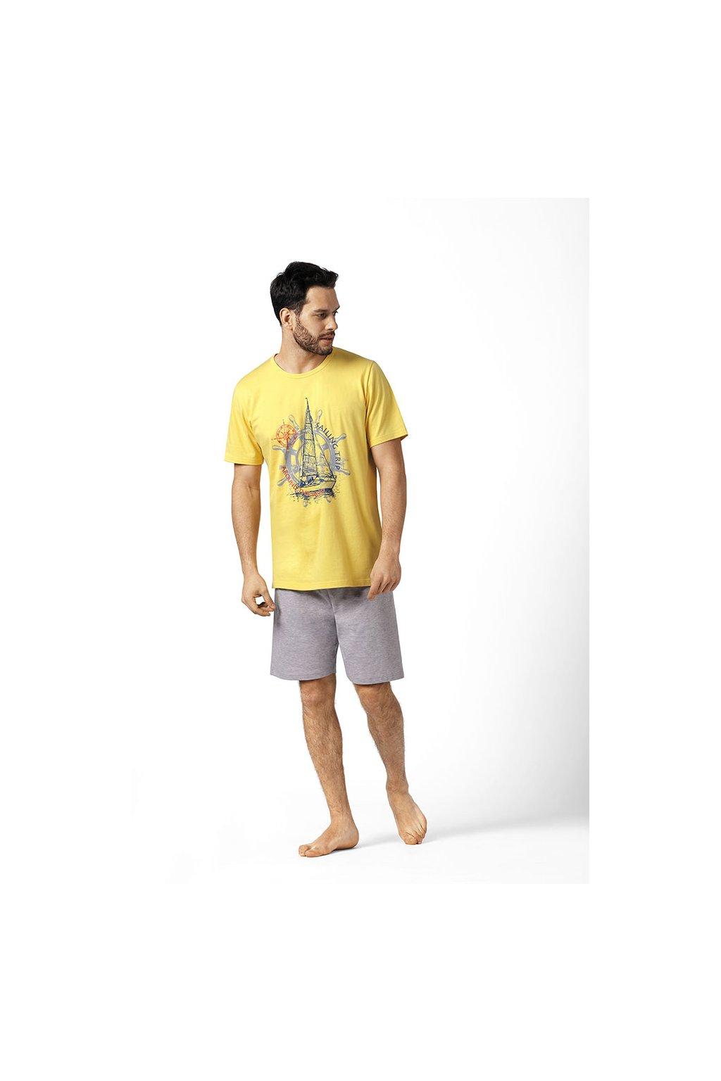 Pánské pyžamo s krátkým rukávem, 20493 895, žlutá