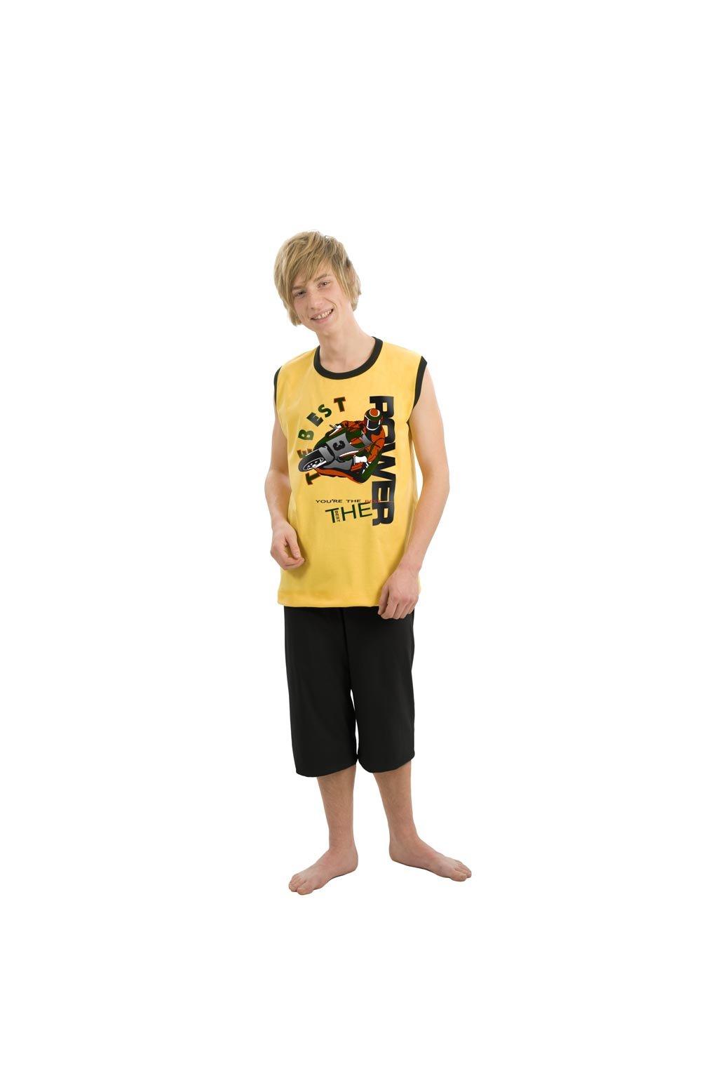 Chlapecké pyžamo YOUNG FASHION se širokými ramínky a 3/4 nohavicemi, 60410 632, žlutá/černá