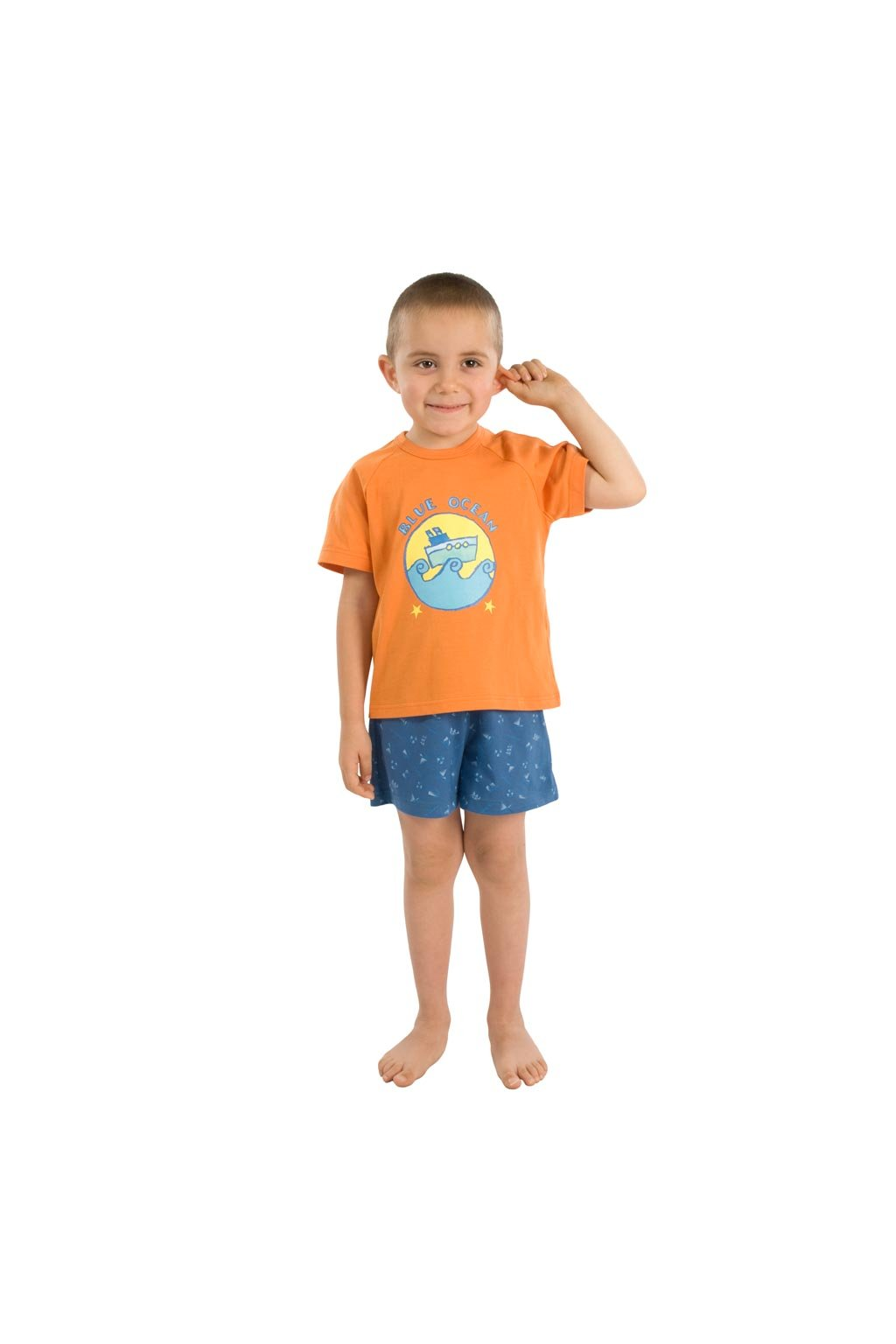 Chlapecké pyžamo s krátkým rukávem, 50411 543, oranžová