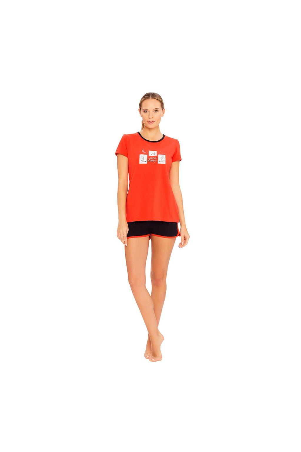Dámské pyžamo s krátkým rukávem, 104403 889, korálová