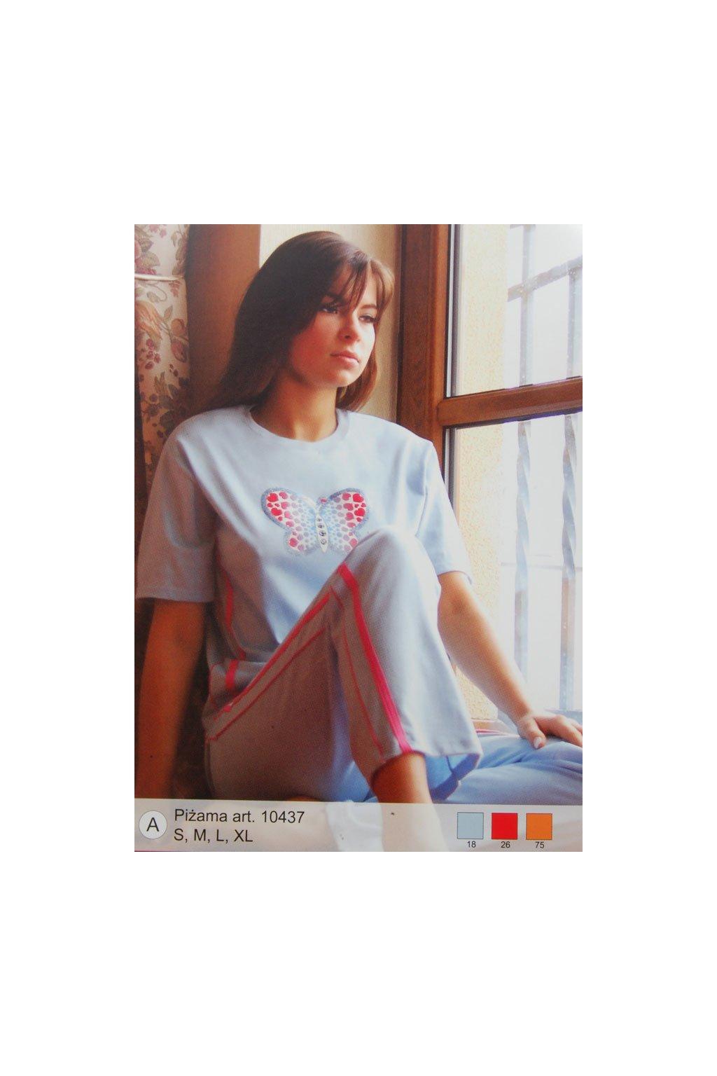 Dámské pyžamo s krátkým rukávem, 10437k 75, pomerančová