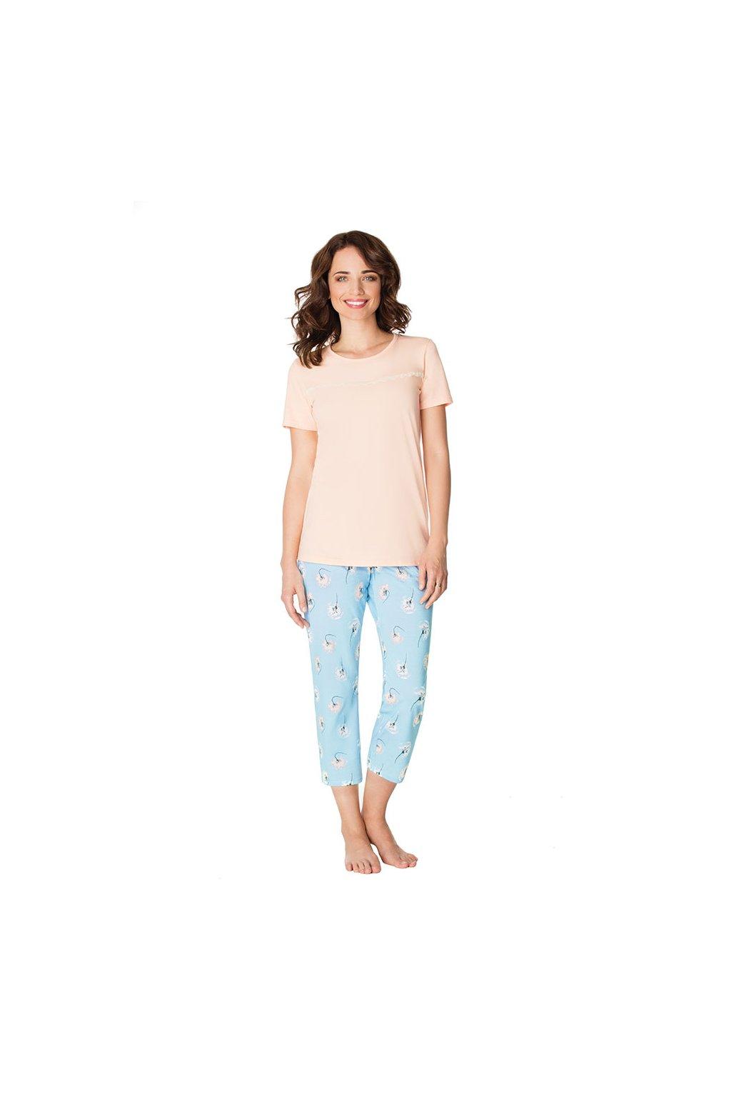 Dámské pyžamo s krátkým rukávem a 3/4 nohavicemi, 104445 920, meruňková