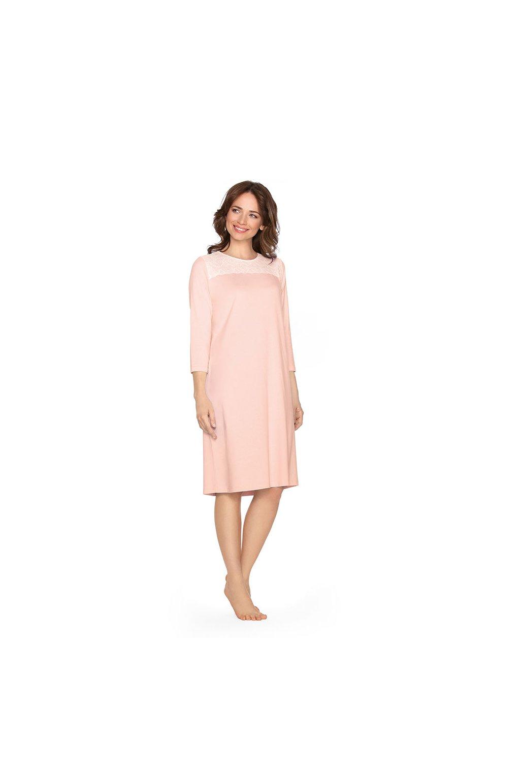 Dámská noční košile s 3/4 rukávem, 104453 9, růžová