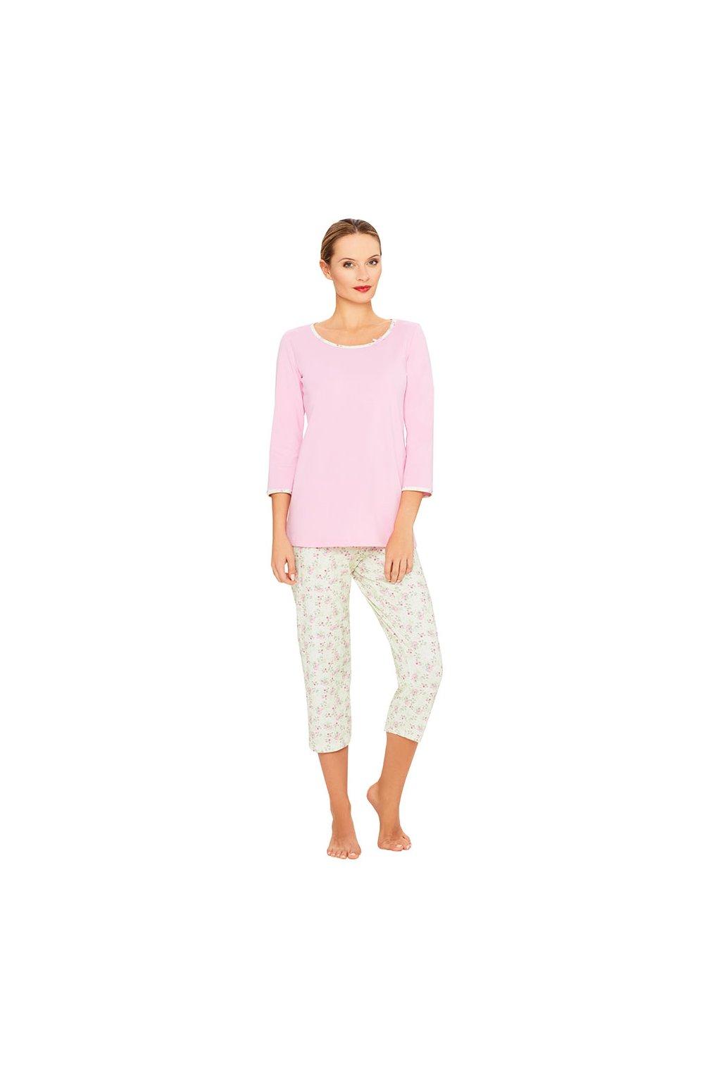 Dámské pyžamo s 3/4 rukávem, 104413 139, růžová